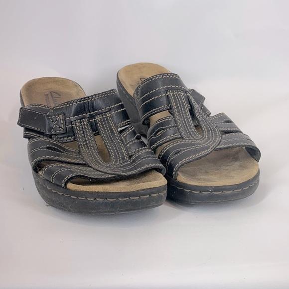 Clarks Bendables Slip On Brown Heeled Sandal 10